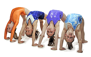 Young gymnasts doing the bridge
