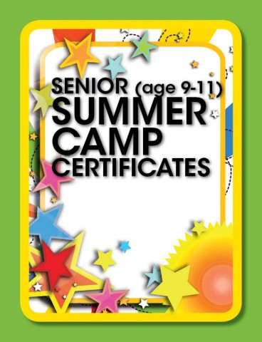 Summer camp certificate package gymtastics gymtools summer camp certificate senior ages 9 11 years yadclub Choice Image
